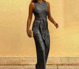 Womens Jumpsuits Belt Loose Summer New Ladies Rompers Casual Fashion Female Designer Clothing Sequins Shiny00