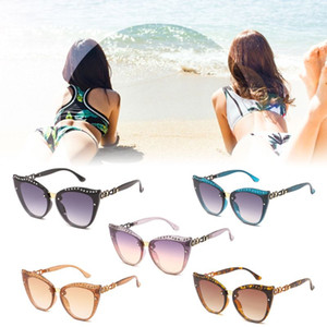 Fashion Women Retro Metal Frame Eyeglasses Cat Eyes Gradient Diamond Spectacles Eyewear Versatile Sunglasses 2XPC