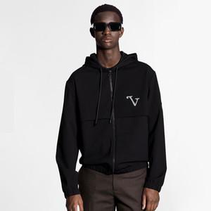 20FW gama alta Carta reflectante empalme Hombres Mujeres chaqueta con capucha otoño del resorte de la cremallera de la chaqueta al aire libre moda de la calle Outwear HFYMJK366