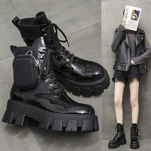 Женщины Ботильоны женского Узелок Convinient Сумка Обувь Женской плоская платформа Non скольжение женщина Прохладный моды Комфортного новый черный