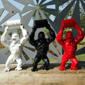 "16""Big Creative King Kong Decoration Art Craft Animal Simulation Resin Statue Gorilla Bust Figure Model Toy BOX 40CM Collectible"