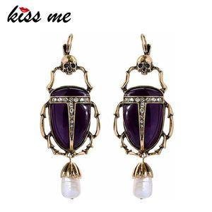 kissme Boucles d'oreilles pour les femmes 2020 Perle synthétique Cultured Stone insectes Boucles d'oreilles bijoux à la mode Déclaration de Noël