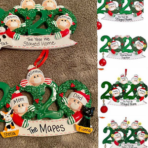 2020 Regalo Decoración fiesta de Navidad de cuarentena producto personalizado Ornamentos colgantes MADERA nombre de bricolaje de Navidad fuera de la Florida LJJK2483