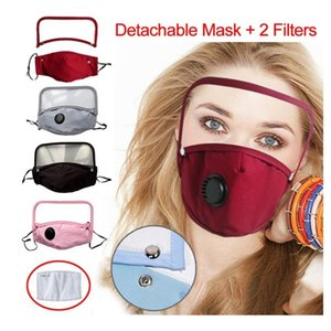 Face Mask With Valve Detachable Eye Shield Dustproof Washable Full Face Cover Protective Face Shield Designer Masks With 2 Filters DHE442