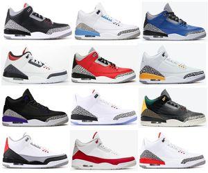 Zapatos de cemento mejor 3 UNC Negro Cemento Rojo Varsity Royal Denim Rojo Fuego baloncesto de los hombres 3s Corte púrpura Tinker JTH zapatillas de deporte con la caja