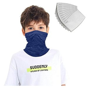 25# 12pcs Kids Windproof Bandana Scarf Dust Mask Sports Protection Face Mask+filters Tube Scarf Fishing Cycling Cover Headband
