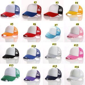 21 цветов Дети Бейсболка для взрослых Mesh Caps Blank Trucker шляпы Snapback Шляпы девочек Для мальчиков малышей шапочка BWD1682