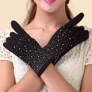 VIIANLES Touched screen Mittens Adult Female Drill Winter Gloves Women Mujer Wrist Black Cashmere High Quality Black Guantes