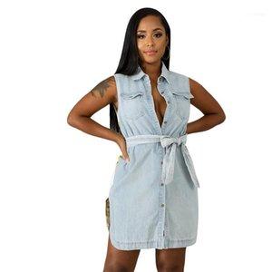 Dresses Summer Clothes Women Jean Tank Dress Luxury Designer Sleeveless Long Shirt