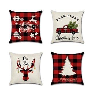 CASARSE La Navidad almohada lienzo 45 * 45cm ELK paquete individual impreso de Navidad almohada cubierta retro tela escocesa de la funda de almohada HHE1395