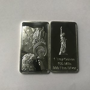 10 pcs Non Magnetic American statue 1 OZ silver plated ingot eagle head badge 50 mm x 28 mm collectible decoration bars