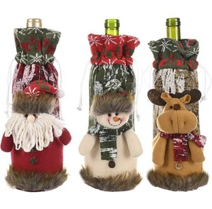 Christmas Red Wine Bottle Cover Bags Merry Christmas Decoration Holiday Home Party Santa Claus Christmas packaging
