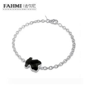 FAHMI 100% 925 Sterling Silver Charm Black Agate Color Bracelet Warm Sweet Bracelet 215431670 Bear Zircon Original Wedding Gift