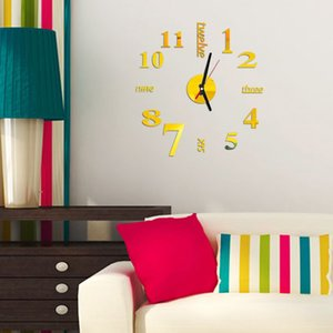 Wall Clock Mirror Wall Sticker Removable Self-Adhesive Art Decal Clocks Home Decor Living Room Quartz Needle reloj de pared
