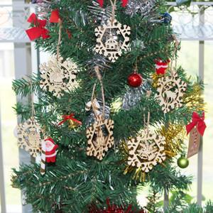 6pcs flocon de neige en bois cadeau Tag arbre de Noël Hanging Ornements Père Noël Joyeux Noël Pendentifs Décoration de Noël Tag Suspendez