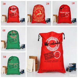 50*70cm Christmas Gift Bags Large Organic Heavy Canvas Bag Santa Sack Drawstring Bag With Reindeers Santa Claus Sack Bags For Kids BC BH4045