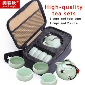 Handmade cinese / giapponese Vintage Kungfu Gongfu Tea portatile Pinguino, un piatto, quattro Coppe di viaggio Tea Set, Teiera, Teacup, Teiera, Teacup