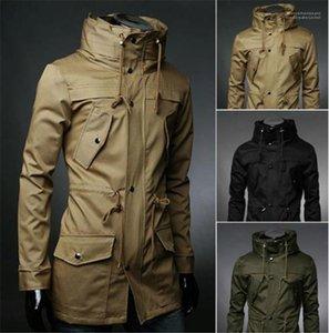 Мужская Верхняя одежда сплошного цвета Mens Trench Coat с карманами с длинным рукавом Тонкий Outwear моды
