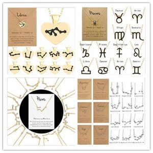 소매 카드와 12 별자리 조디악 목걸이 별자리 로그인 지르콘 한국 보석 스타 갤럭시 천칭 자리 점성술 여성 목걸이 선물