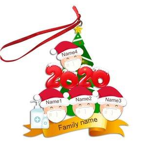 2/3/4/5/6 Aile Yüz Maskesi Noel Süs Kişiselleştirilmiş Karantina Noel Ağacı Pendents Xmas Parti Dekorasyon Hediyeler F91601