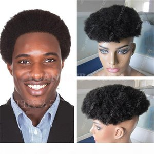 Africa American Toupee 6inch 1B Virgin Indian Hair Short Afro Curl Toupees for Black Men Free Shipping