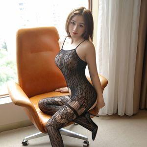 uJS0K Linting leopar baskı yeni tek parça ipek iç çamaşırı ipek çorap Sling çorap içi boş aşımı seksi Sling tüm vücut siyah iç çamaşırı seks