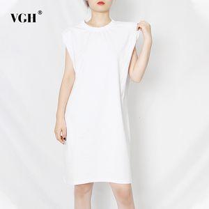 White Dress VGH allentato per le donne O collo maniche Solid minimalista più i vestiti casuali femminili 2020 Summer Fashion New Tide