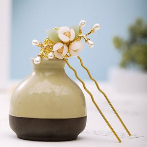 GETNOIVAS fatto a mano dei capelli della perla Forks Oro Tornante cinese Vintage Colore Oro fiore tornante capelli delle donne del copricapo Accessori SL sdgO #