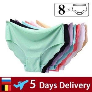 8pcs lot Women Panties Seamless Briefs Set Ice Silk Underwear Sexy Thong Ultra-thin Lingerie Soft Underpants Pants 200917