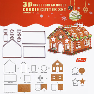 Christmas Cookie Cutter Set 10 Pcs Stainless Steel Gingerbread House Biscuit Mold 3D Baking tools