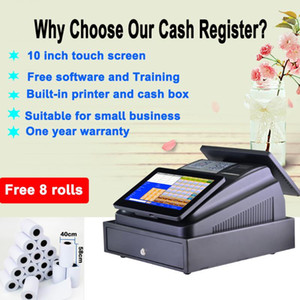 10 inch Dual touch screen come with free software and training for restaurant and retail built in thermal printer cash box