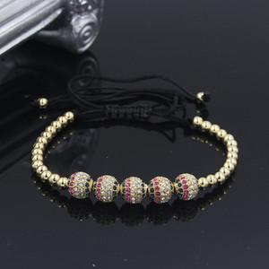 Anil Arjandas Homens pulseiras 8 milímetros de bronze Beads Pave CZ Briading Macrame Bracelet para as Mulheres Homens Charm Bracelet