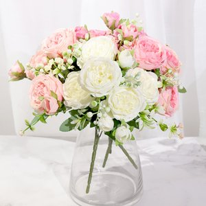 Pink Silk Peony Artificial Flowers Rose Wedding Home Decor High Quality Big Bouquet Foam Accessories Craft White Fake Flower