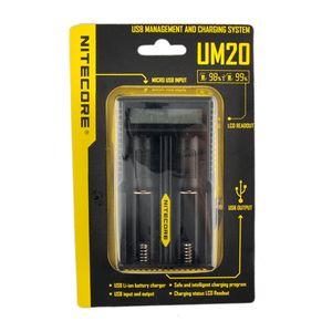 NEW Nitecore UM20 зарядное устройство Интеллектуальное зарядное устройство UM20 ЖК-дисплей для Li-иона IMR без батареи 18650 18490 18350 17670 Nitecore UM10 DHL
