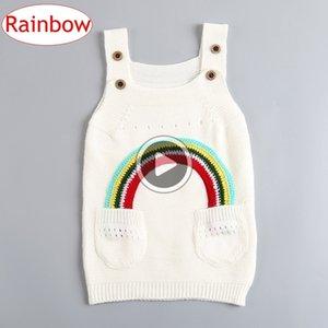 INS enfants filles coton arc-en-Robes Bébés filles pull en tricot Jupe jarretelles Printemps Automne Vêtements pour enfants 1-4Years bateau libre