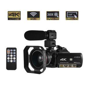 Andoer Profesional cámara de vídeo cámara 24MP DV Recorder con 0.39X Lente Gran Angular + Hood lente + micrófono externo