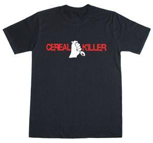 Camiseta de los hombres de las mujeres divertidas de la novedad Cereal Killer Lema regular hilado en anillo Fit algodón ropa informal masculina divertido estilo Camiseta