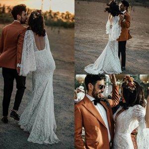 2020 Bohemia Свадебные платья V шеи длинные рукава Аппликация Кружева Русалка Свадебные платья сшитое Backless Поезд стреловидности BOHO свадебное платье