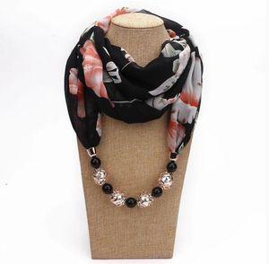 Multi-style Decorative Jewelry Necklace Resin Beads Pendant black Scarf Women Foulard Femme Head Scarves Hijab Scarfs