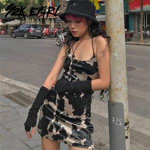 Y2K Egirl Aesthetics Spaghetti Strap vaca Parte de Veludo Vestido de Veludo Punk Estilo Backless Bodycon Party Cami Vestido Vintage Club