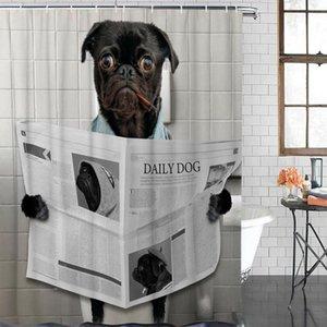 방수 커튼 동물 퍼그 신문을 읽는 재미 패브릭 샤워 커튼 홈 욕실 장식 크리스마스 샤워