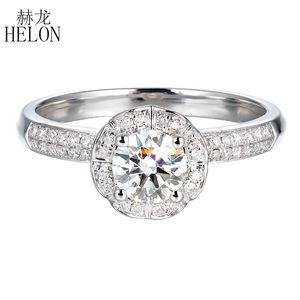 Anillo Anillo Hélon Moissanite 5mm sólido 14k oro blanco del laboratorio Ronda Grown mujeres del diamante de compromiso de la boda de moda único de joyería fina