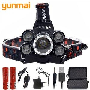 8000 Lumen hight power light 5 led headlamp headlight cree xml t6 LED Head Lamp 18650 rechargeable Torch lantern