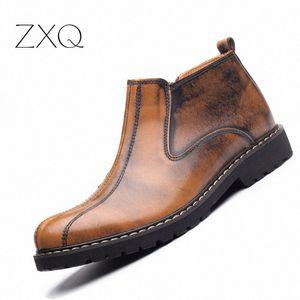 NEW 2017 Autumn Winter Men Ankle Boots Cow Split Leather Men Waterproof Leisure England Retro Men Boots Shoes Green Boots Cute Shoes RbCk#