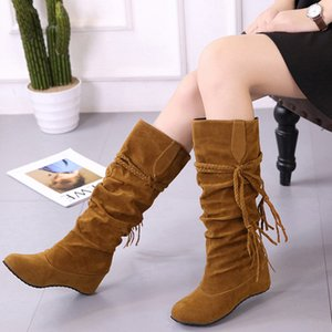 GAOKE Women Boots Autumn Winter Fringe Half Knee High Boots Ladies Tassel Fleece Shoes Woman Botas Feminina Plus Size 35-43
