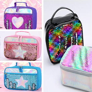 Reversable Sequins Kids Lunch Bag Sequined Handbag School Food Pouch Carry Case Children Students Zipper Cooler Waterproof Picnic ToteLY9071