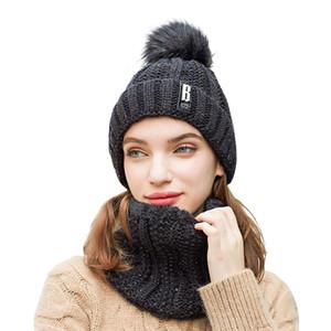 Мода зимы женщины Шляпа шарф Набор Hat и шарф для женщин девушки теплых шапочек для девочек кольца помпонов Зимних шапок