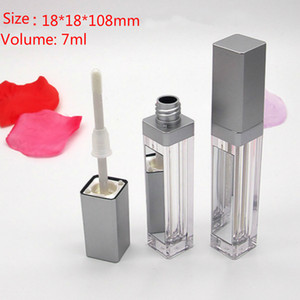 High Quality Led Square Empty Lip Gloss Tubes Clear Lipgloss Refillable Bottle Containers Makeup Packaging with Mirror Empty lipgloss bottle