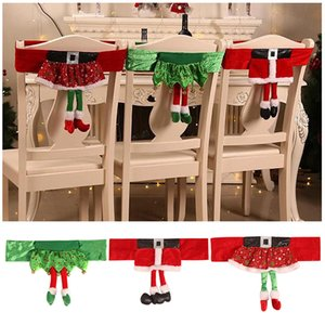 Christmas Chair Covers Elf Christmas Dinner Chair Back Covers Non-woven Banquet Table Party Decor New Year Party Supplies
