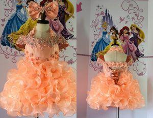 Cute Coral Toddler Girls Pageant Dresses Little Girls Halter Cold Shoulder Rhinestones Ruffles NewProm Kids Formal Wear Flower Girls dress